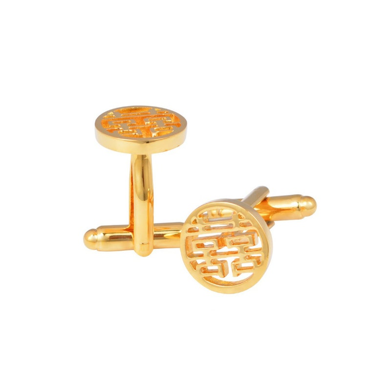 Kings Collection Round Double Happiness Gold Cufflinks KC10071 Gold