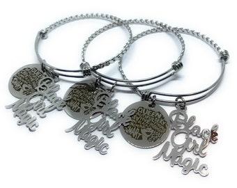 BLACK GIRL MAGIC, Charm Bracelet for Girls, Black Lives, Matter, Black Girl Magic Bracelet, Gift for Woman, Silver Bracelet, Gift, Charms