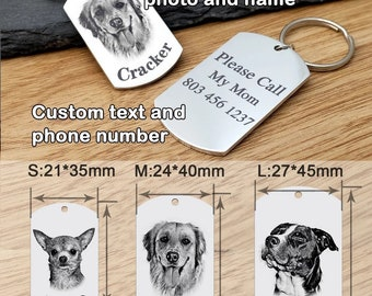Dog Tag Dog ID Name Tag Pet ID Tag Personalized Dog Name Tag Custom Pet Tag ID Tag Engraved Pet Tag With Picture