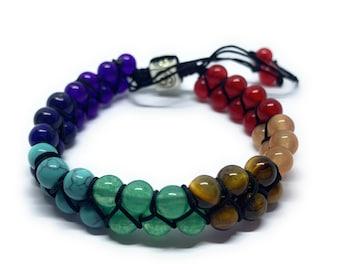 7 Chakra Bracelet Wristband, Gemstone Seven Chakra Stones Bracelet Healing Crystals, Spiritual Bracelet Charm Yoga Meditation Gift Ideas