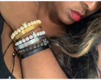 Gold Bracelet Set MEN'S BRACELETS, Men Beaded Bracelet, Mens Gold Beaded Bracelet Set, Gold Ball Bead Bracelet, Gold Bead Stretch Bracelet,