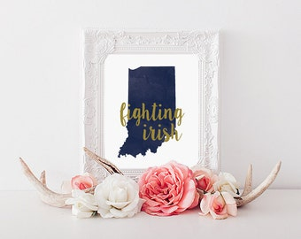 Notre Dame Fighting Irish Watercolor Gold Leaf State Printable (8x10)