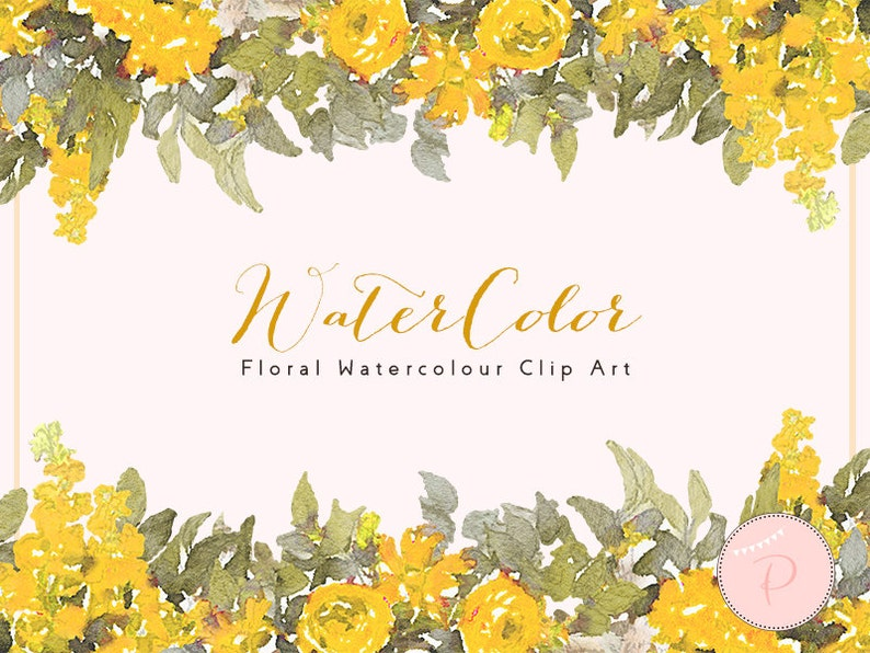 Yellow Flower Clipart Wreath Roses Floral Wreath Clip Art Watercolor Floral Clipart Png Clipart Floral Cliparts Download Wca43