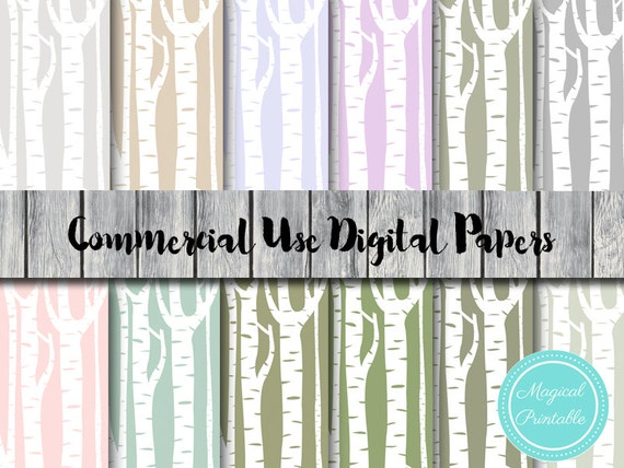 Woodland Trees Digital Papers Instant Download