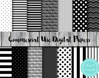 Black and White Digital Papers, Instant Download Digital Paper, Commercial Use, Scrapbook Digital Papers, Digital Background, DP118