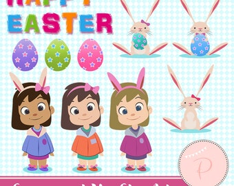 Rabbit Clipart, Easter Clipart, Girl Clipart, Digital Easter Bunny Clipart, Instant Download, Hand painted clipart