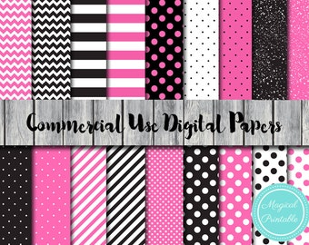 Hot Pink and Black, Instant Download Digital Papers, Commercial Use, Scrapbook Digital Papers, Digital Background, dp02
