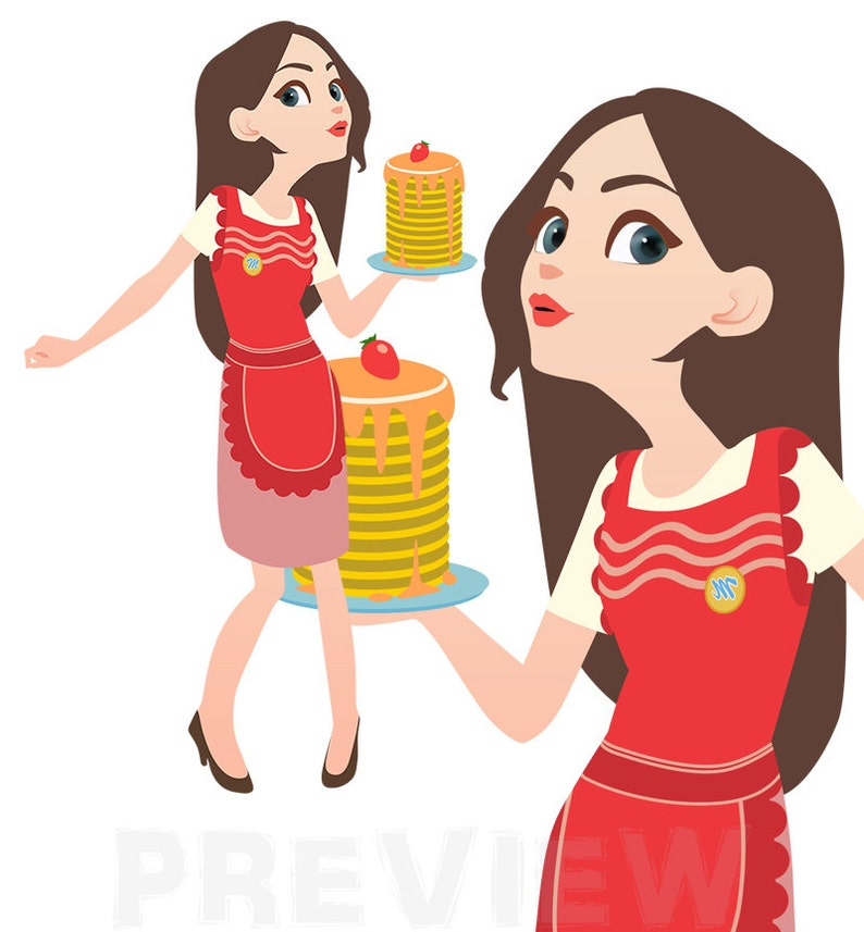 Fine Housewife Clipart Woman With An Apron Clipart Pretty Lady Clipart Instant Download Handdrawn Clipart Interior Design Ideas Clesiryabchikinfo