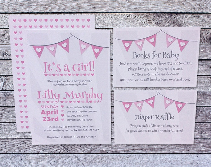 Baby shower invitations custom cards by marie printed baby shower invitation girl pink gray flags hearts filmwisefo