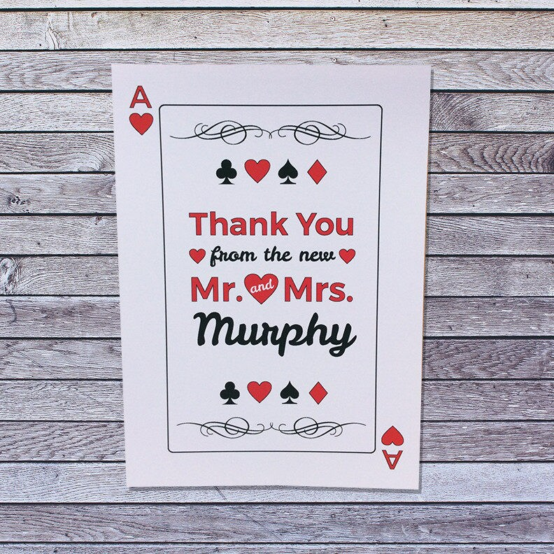 Casino Wedding Thank You Cards Personalized Single Or Pack