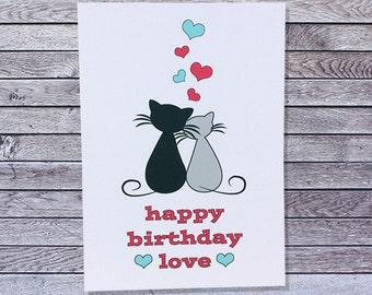 Cat Love Birthday Card