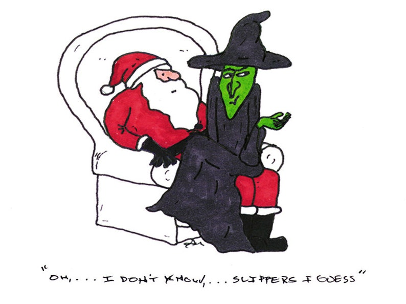 0af8fa585 Funny Cartoon Christmas Card Santa and Wicked Witch of the | Etsy