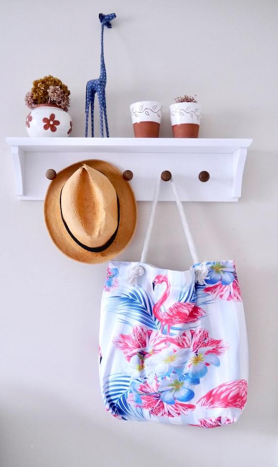 Flamingo Strandtasche mit Seil Griff //Schulter //Einkaufstasche