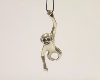 Fashion Men Women Monkey Ape 925 Sterling Silver Pendant Necklace Chain Jewelry Gift Free Shipping