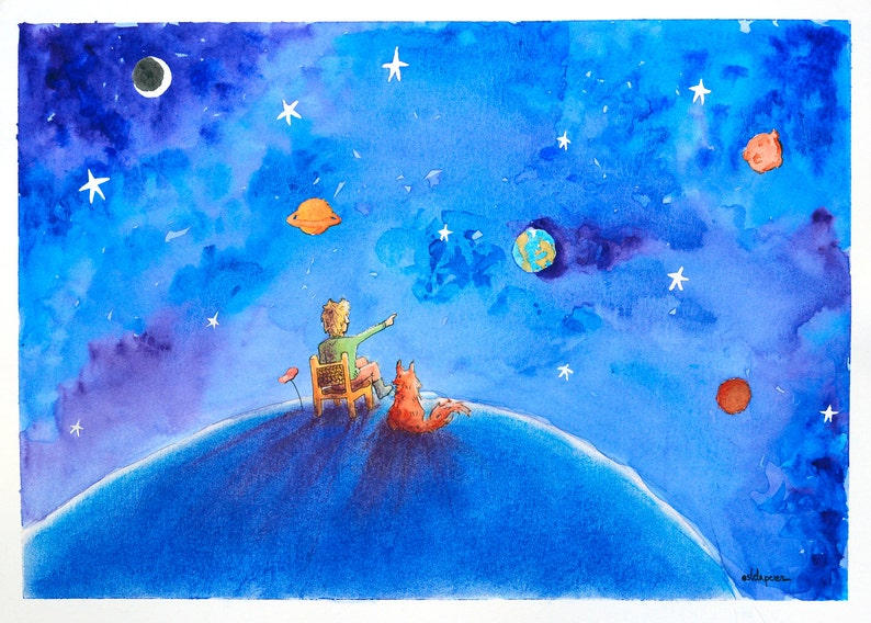 Children Illustration Planets. High Quality Art Print Giclee. image 0