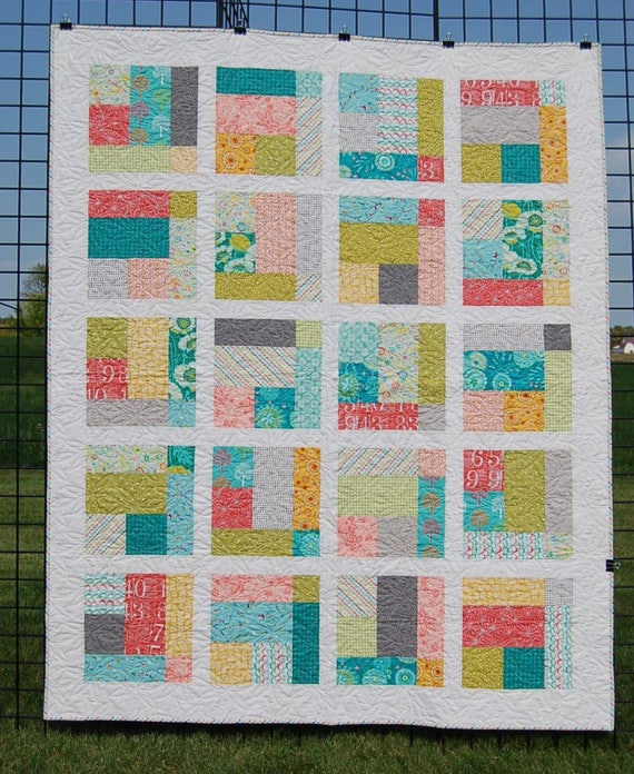 Quilt For Sale Mosaic Is A Large Contemporary Lap Quilt Pieced With Modern Style Fabric In Peach Teal And Green Handmade Patchwork Quilt