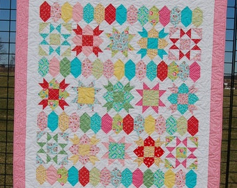 """Quilt, """"Sweet Baby Stars"""" is a handmade baby quilt for sale, perfect for a baby girl/Pink star quilt/child's quilt/baby shower gift"""