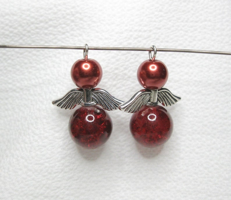 Faux Pearl Earring Pair; Memorial Silver Wings; #117 Angel Set of 2; Ornament Charm Pendant Guardian Angel; Red Crackle Glass Bead