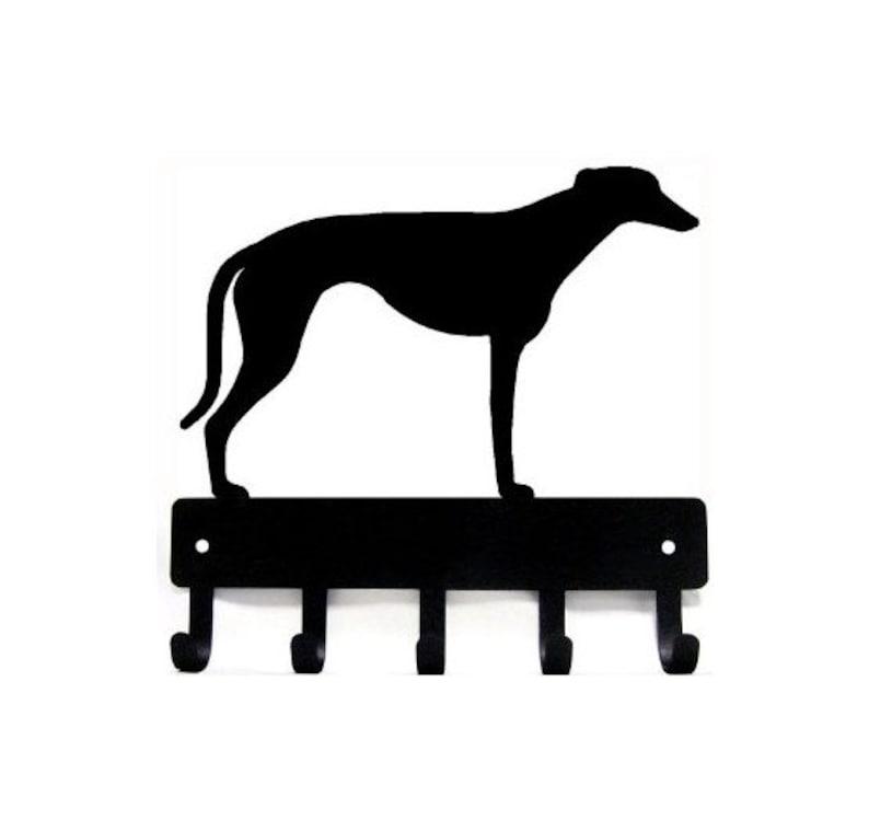 "Miniature Schnauzer Dog Leash Hanger Metal Key Rack Holder 5 Hooks LG 9/"""
