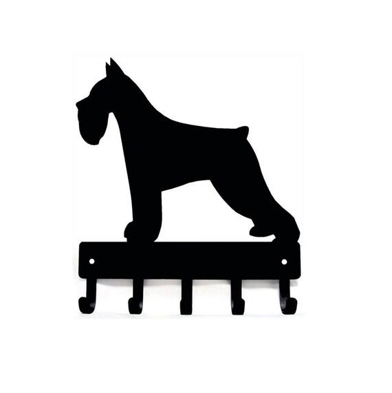 "Miniature Schnauzer Dog Leash Hanger Metal Key Rack Holder 5 Hooks Sm 6/"" Made US"