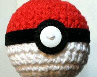 Poke Ball Christmas Ornament, Pokemon, Hand crocheted