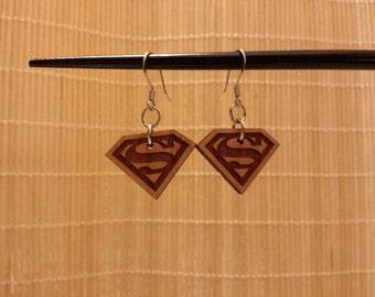 Superman Classic Emblem Dangle Earrings, Laser Engraved, Cherry Wood