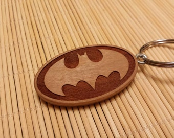 Batman Keychain, Laser Engraved, Cherry Wood