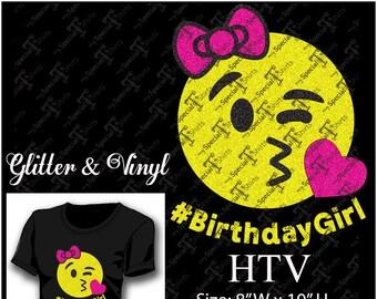 Birthday Girl Emoji, Happy Emoji Kiss, Instant Download Vector Design, Digital Download (.svg, dxf .eps) Vinyl Transfer HTV cut file
