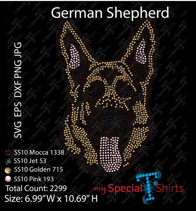 German Shepherd Dog Instant Download Rhinestone Design Rhinestone Transfer Cut file .svg, dxf .eps Bling Fashion animals Digital Download