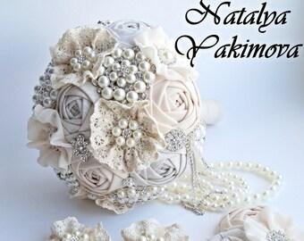 Brooch Bouquet, Vintage Bouquet, Rustic Bouquet, Fabric Bouquet, Unique Wedding Bridal Bouquet