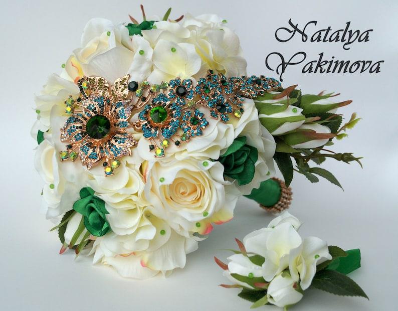 c73c472413990 Sale. Brooch Bouquet, Bridal Bouquet, Silk, cascade, flowers, Wedding,  Fabric Bouquet, Unique Bouquet, green, emerald, gold, ivory