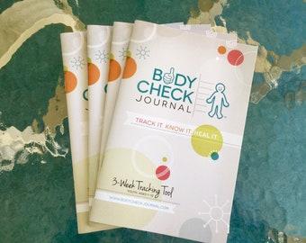 Body Check Journal - Kid's Medical Tracking Health Journal 4 pack (3 week), diabetes, ADHD, allergy, cancer, pediatric, symptoms, wellness