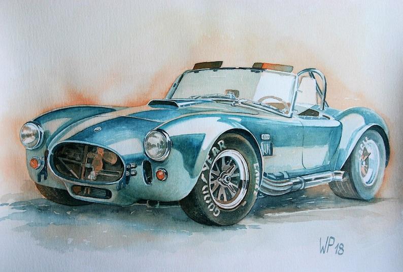 AC Cobra-Schelby 1965, original painting, oldtimer in watercolor painted on  Kuenstlerpapier, no pressure