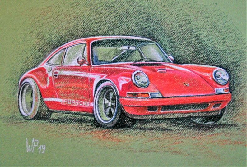 Original painting Singer-Porsche 911 (964) , Baden Württemberg, Stuttgart,  Deutsche Autos, German Engineering, Germany