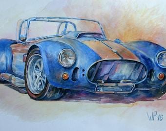 Originalgemälde AC Cobra Shelby in Aquarell,Oldtimer,Sportauto,US-Cars,Legende,Carrol Shelby.