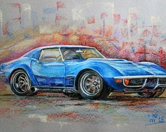 Kunst-Originalgemälde Chevrolet Corvette C3  BJ 1969