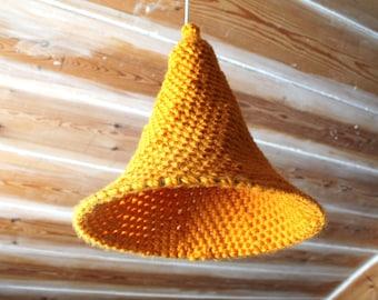 Yellow crochet lamp