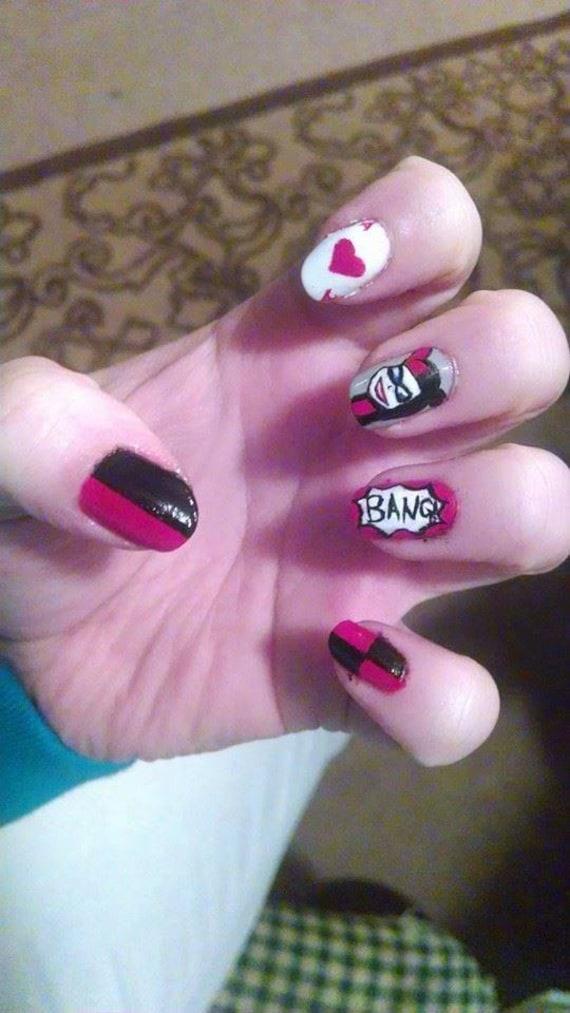Harley Quinn Nail Art Etsy