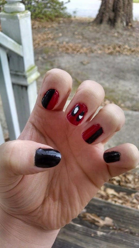 Deadpool Nail Art - Deadpool Nail Art Etsy