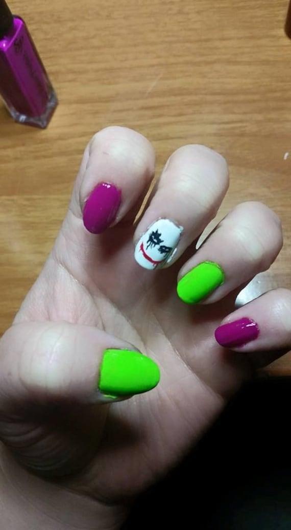 Joker And Harley Quinn Nail Art Etsy