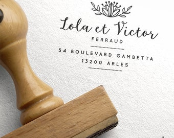 Custom - address stamp rubber stamp wood Folk and Bohemian