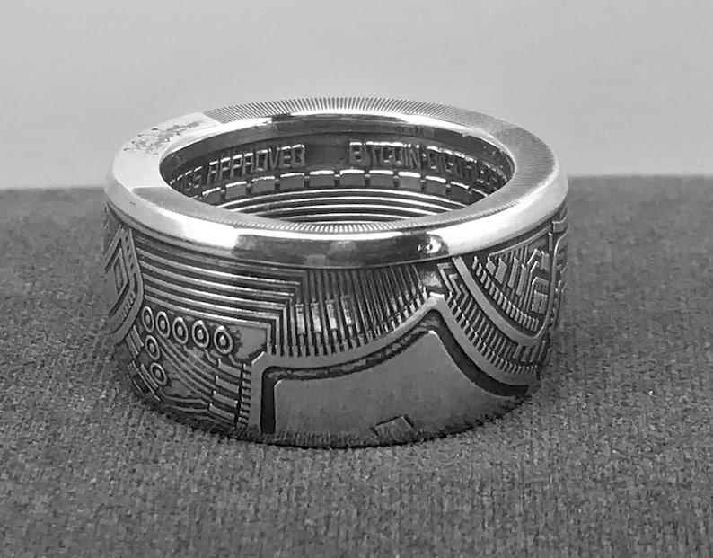 Except For The Coins Date 2021 Silver Bitcoin Commemorative Coin Ring The Ring Shown is From a 2016 Coin But The Designs Were The Same