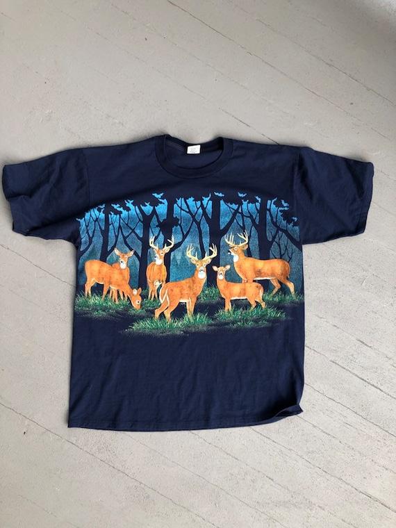 Vintage 90s XL Deer Bucks T-Shirt // Back Graphic