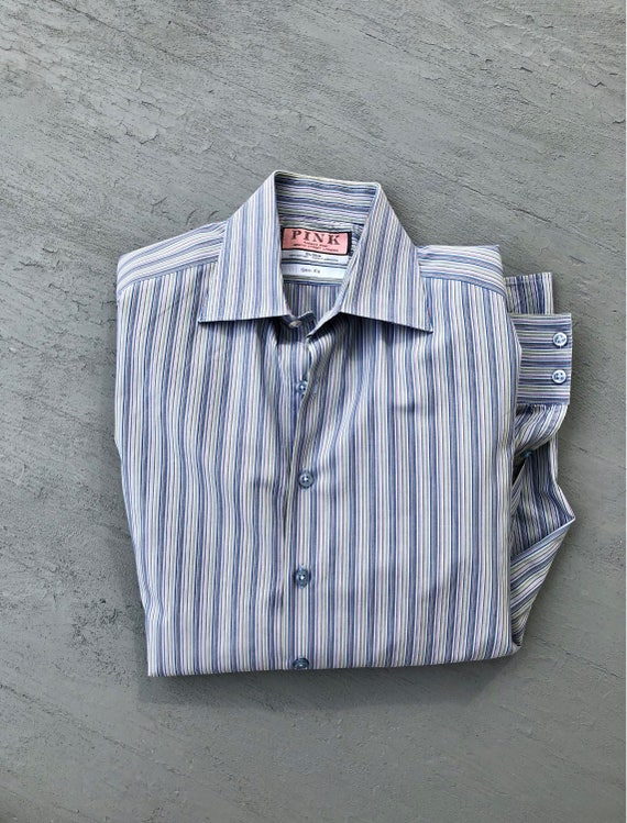 Thomas Pink Slim Fit Dress Shirt  Striped Blue Designer Mens Shirt  Formal Dress Shirt