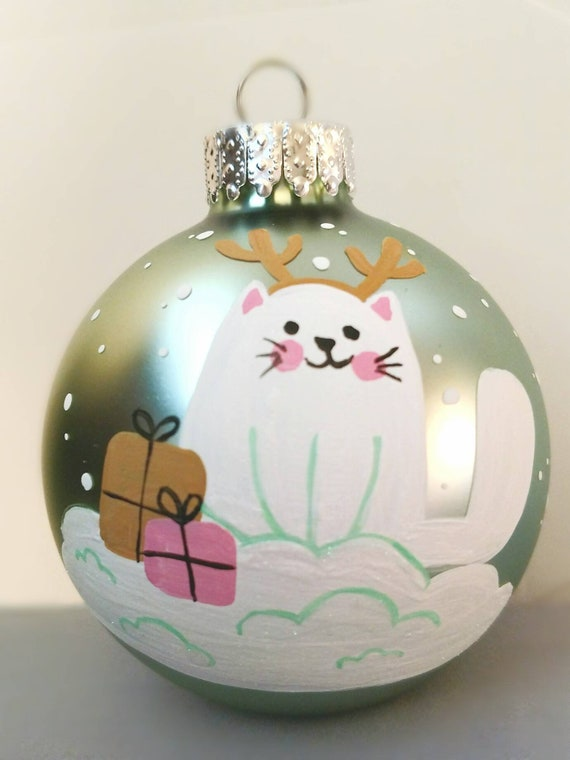Whimsical Christmas Ornaments.Whimsical Cat Hand Painted Christmas Ornaments