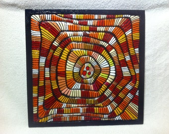 Painted Wood Panel: Fall Colours Symphony - an abstract Colour Relief with 3 D Effects