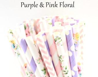 vintage floral straws floral straws tea party straws pink floral flower straws Pink floral paper straws-set of 25- garden party straws
