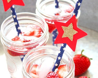 Red, White, Blue and Gold straws-4th of July party, Wonder woman party, stars and stripes, red, white and blue party