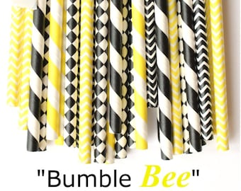Bumble bee yellow and black paper straws-set of 25- bumblebee party straws, bumble bee baby shower, bumblebee gender reveal party