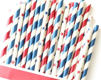 Red, white and blue 4th of July straws, 4th of July party, stars and stripes, red, white and blue party straws